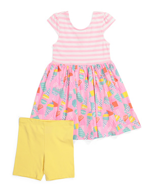 Girls Ice Cream Dress With Bike Shorts Set