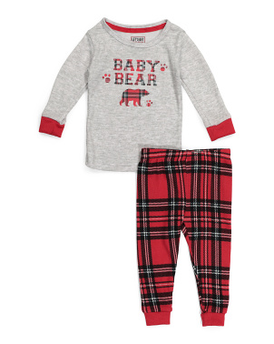 2pc Baby Bear Tweed Plaid Pajama Set