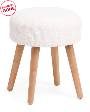14.5in Stool With Faux Fur