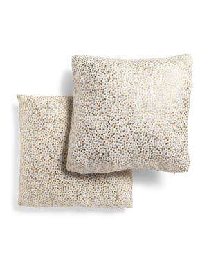20x20 2pk Metallic Dot Linen Look Pillow