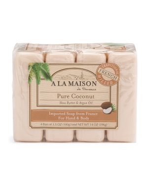 Made In France 14oz 4pk Coconut Bar Soaps