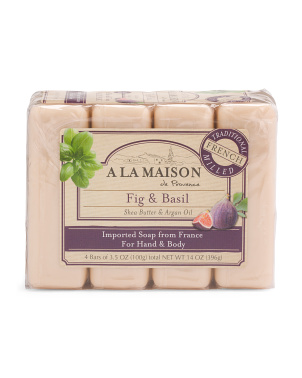 Made In France 14oz 4pk Fig & Basil Bar Soaps