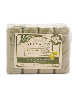 Made In France 14oz 4pk Unscented Olive Oil Bar Soaps