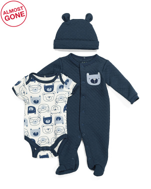 Newborn Boys 3pc Footed Coverall Hat & Bodysuit Set