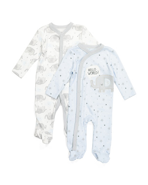 Newborn Boys 2pk Footed Coverall Set