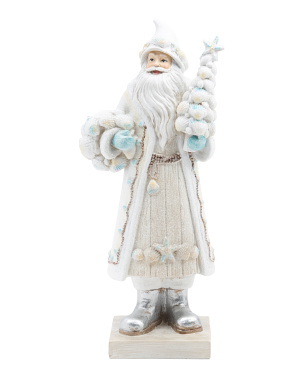 14in Resin Coastal Santa Holding Tree
