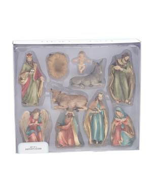 7in Resin 9pc Nativity Set