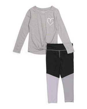 Big Girls Twist Front Color Blocked Legging Set