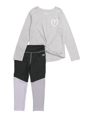 Little Girls Twist Front Color Block Legging Set