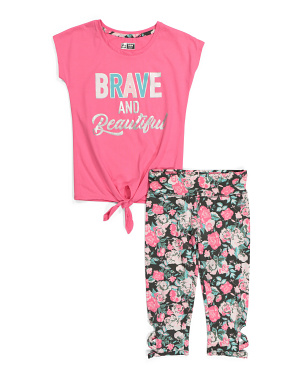 Big Girls Tie Front Legging Set