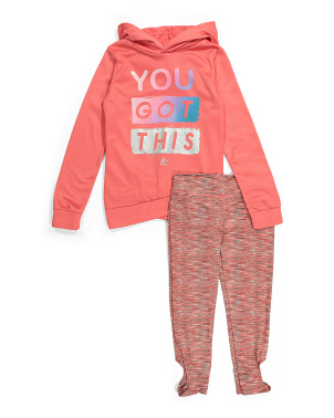 Big Girls Criss Cross Hoodie & Leggings Set