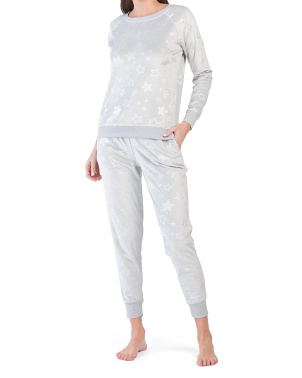 2pc Stars Crew Neck Top And Jogger Pj Set