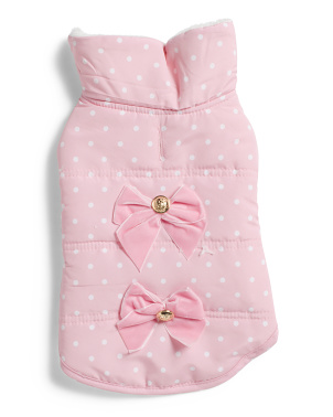 Polka Dot Pet Jacket With Bows