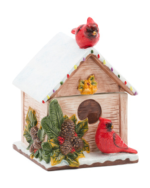 Cardinal Birdhouse Cookie Jar