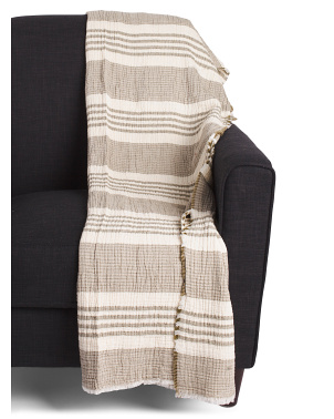 Made In Portugal Ecru Stripe Throw