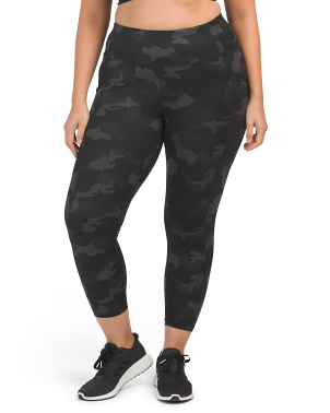 Plus Lux Camo Printed Hi Rise Ankle Leggings