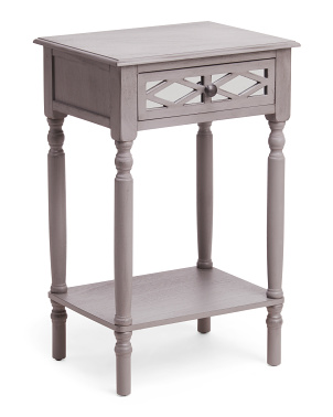 Vendee Usb 1 Drawer Mirrored Side Table