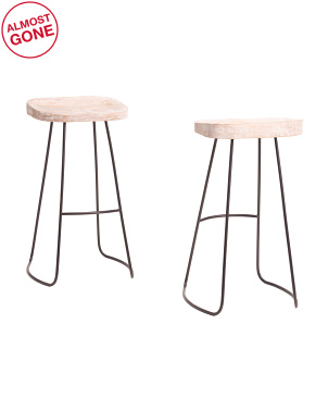 Set Of 2 Boston Mango Wood Barstools