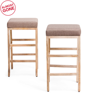Set Of 2 Mango Wood Barstools