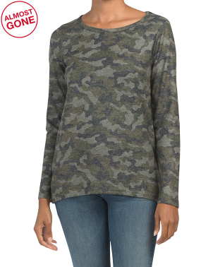 Hi-lo Camo Long Sleeve Knit Top