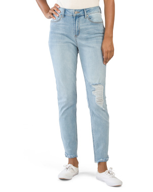 Juniors Destructed Flipped Hem Jeans