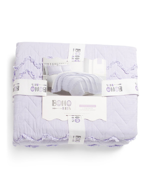 Bovina Chevron Washed Microfiber Quilt Set