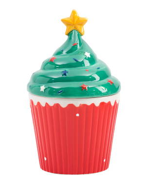 Christmas Tree Large Cup Cake Jar
