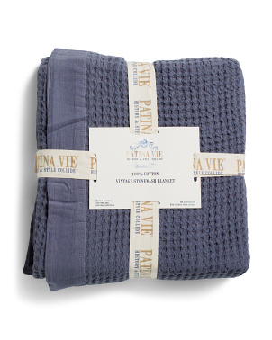Handcrafted In India Jacquard Stone Wash Waffle Blanket