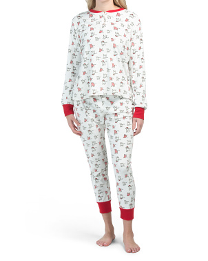 Holiday Dogs Fleece Henley Pj Set