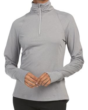 Long Sleeve Ruched Detail Quarter Zip Top