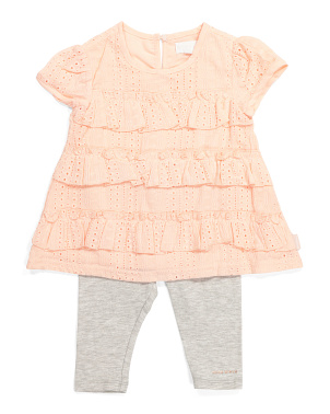 Infant Girl Eyelet Top And Leggings Set