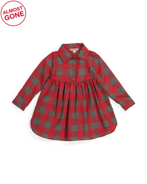 Toddler Girls Plaid Shirt Dress