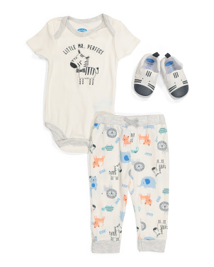 Infant Boys Bodysuit Pant And Shoe Set
