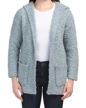 Juniors Long Sleeve Open Hooded Cardigan