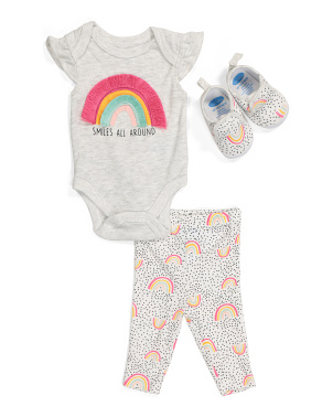 Newborn Girls 3pc Bodysuit Pant And Shoe Set