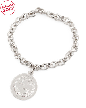 Made In Italy Sterling Silver Coin Bracelet