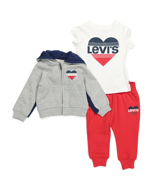 Infant Girls 3pc Fleece Jogger Set
