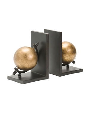 Set Of 2 Iron Sphere Bookends