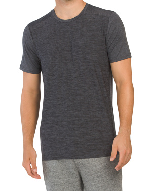 Short Sleeve Welded Stretch Heather Running Top