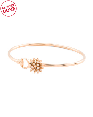 Made In Italy 18k Gold And Diamond Flora Bangle Bracelet