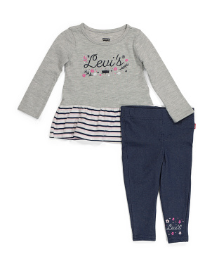 Infant Girl Ruffle Long Sleeve Jeggings Set