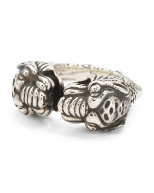 Made In Italy Sterling Silver Vintage Tiger 2 Headed Ring