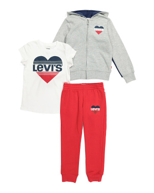 Little Girl 3pc Fleece Joggers Set