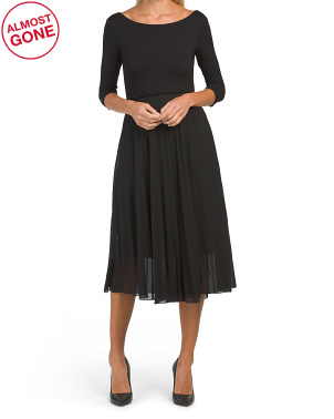 Made In Italy Knit Top Pleated Dress