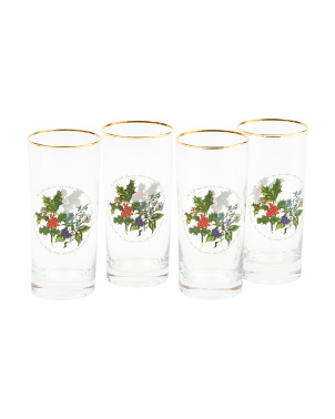 4pk Holly & Ivy Hi-ball Glasses Set