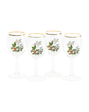4pk Holly & Ivy Wine Glasses