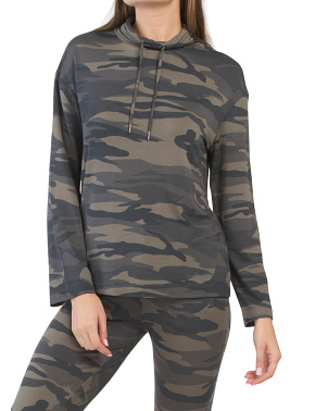 Long Sleeve Cowl Neck Camo Top