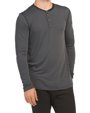 Siro Jacquard Long Sleeve Henley Top