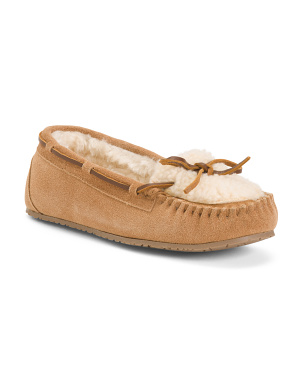 Suede And Berber Plug Trapper Moccasins