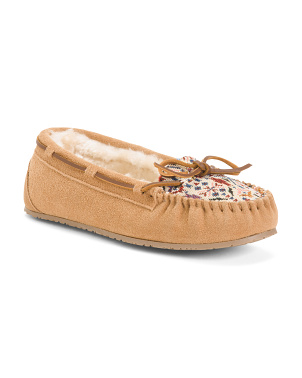 Suede And Textile Plug Trapper Moccasins